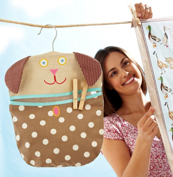 Dog Clothes Peg Pin  Bag  removable wooden hanger by mountainlodge, $9.95