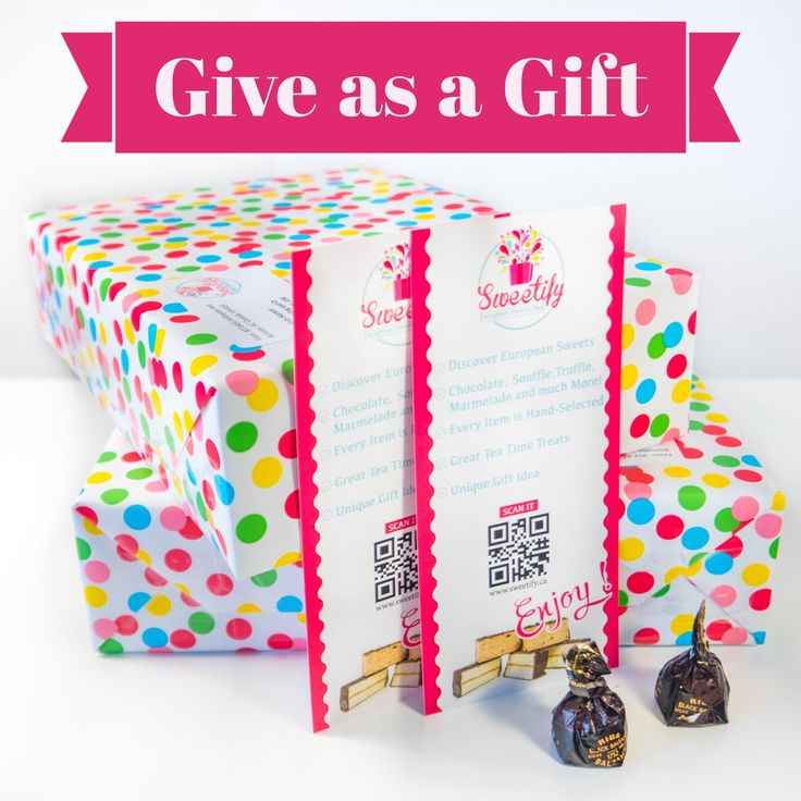 Sweetify box is a great gift idea! By choosing the gift option at our website you can add a special message that will be printed out and shipped in a beautifully wrapped box together with European treats.  For gift giving you do not have to wait to the box shipping date, we will send in out in 1-2 days since your order.  To order Sweetify European box go to www.sweetify.ca Fo any questions and enquires: info@sweetify.ca  #sweetify #box #subscription #european #sweets #tasty #chocolate…