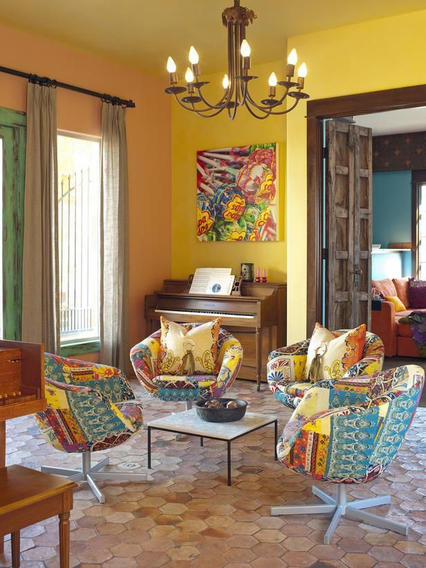 color!Decor, Wall Colors, Living Rooms, Yellow Wall, Chairs, Mexicans Design, Astleford Interiors, Music Room, Bright Colors
