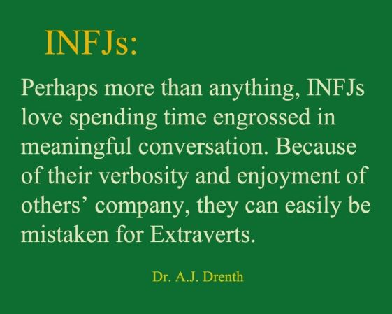 #INFJ    Dr. A.J. Drenth- However, no amount of meaningful conversation (which I thrive on) can replenish my energy reserves. Only being alone can.
