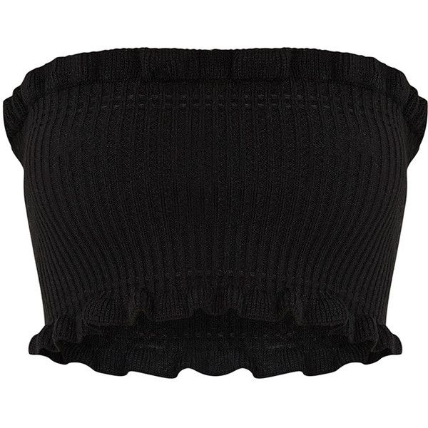 Brittnay Black Ruffle Detail Knit Tube Top (28 AUD) ❤ liked on Polyvore featuring tops, knit top, frilly tops, flutter-sleeve top, tube top and ruffle top