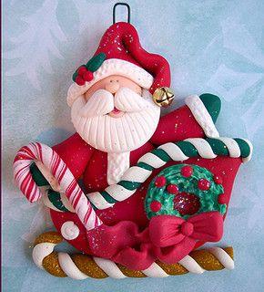 Santa en trineo en polymer clay / arcilla polimérica