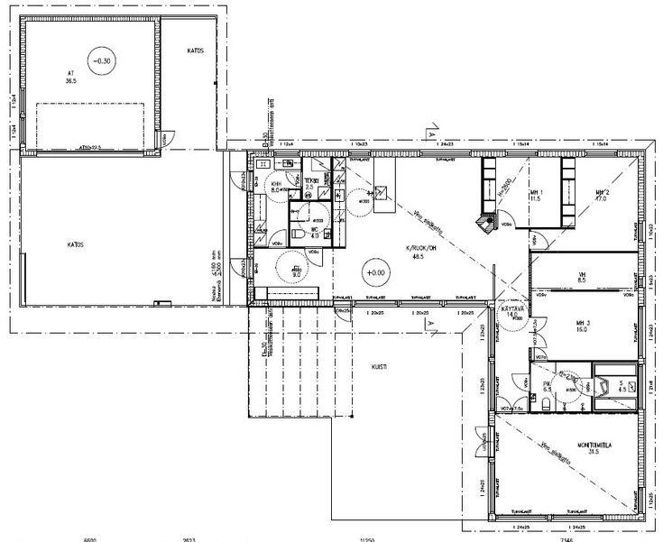L-mallisen 1-kerroksisen talomme pohjapiirros.