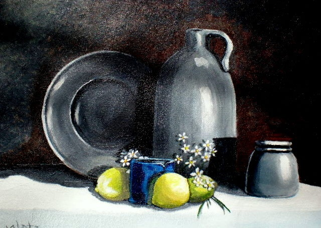 """Pewter Still Life"" by janetglatzmaineart.com 12x9 framed"