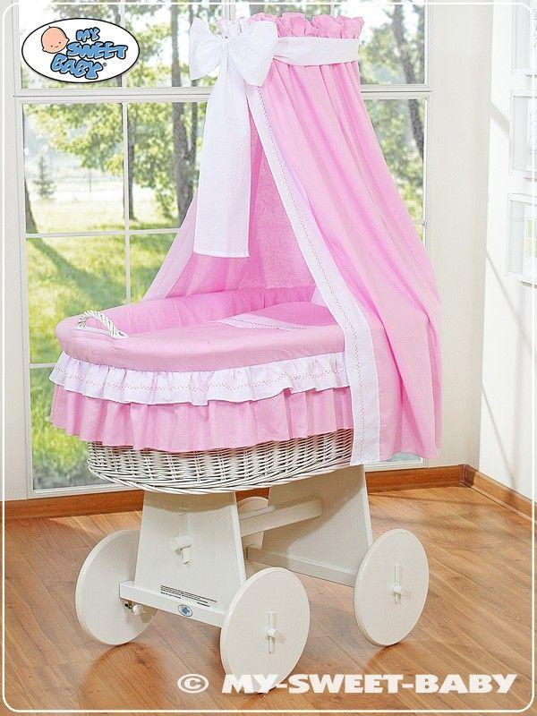 Wicker Crib Vintage Moses Basket bassinet Bellamy with drape in Pink - €239,00 #babyshoppingmarket #wicker #crib #bellamy
