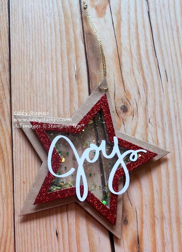 Double Sided Star Shaker Ornament. Tutorial on my blog. Stampin' Up! products used - Star Framelits; Wondrous Wreath; Red Glimmer Paper; Kraft Card and Window Sheet