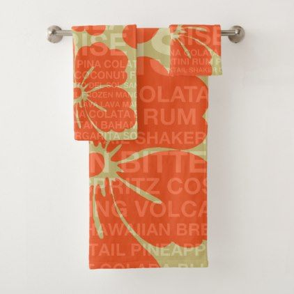 Summer Words Cocktails and Hibiscus - Orange Bath Towel Set - summer gifts season diy template ideas