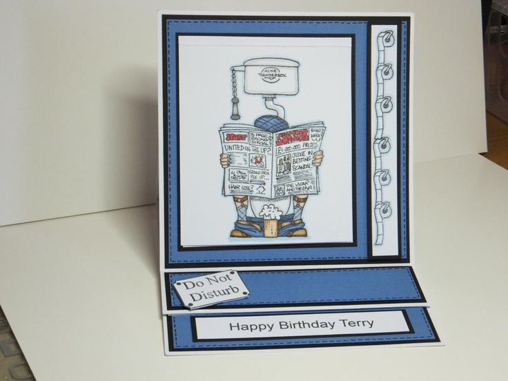 (Ref:G7) Flippin Men stamp used to make an easel birthday card, coloured with Promarkers.
