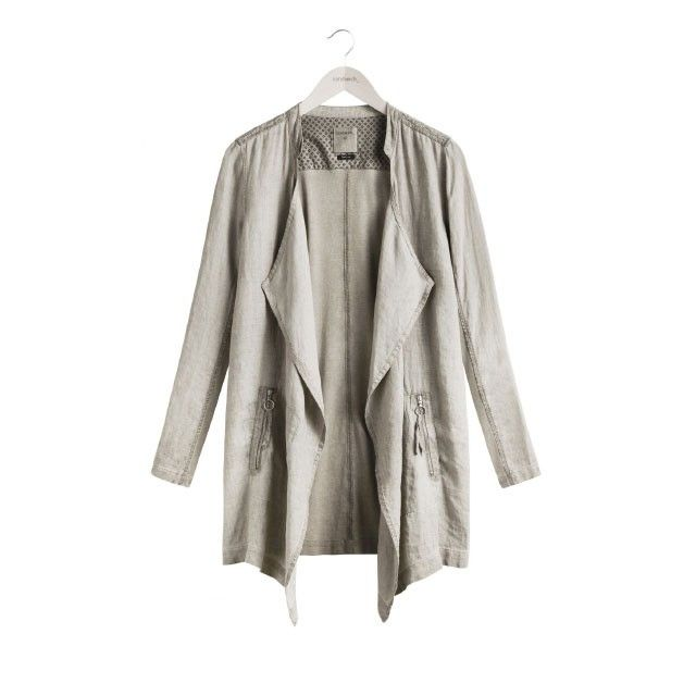 Sandwich Clothing Longline Linen Jacket Taupe