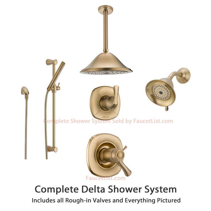 delta addison champagne bronze shower system with shower handle 6setting diverter large ceiling mount rain showerhead handheld shower