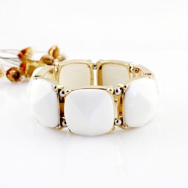 White & Gold Gemstone Bracelet, Women's Fashion Accessories