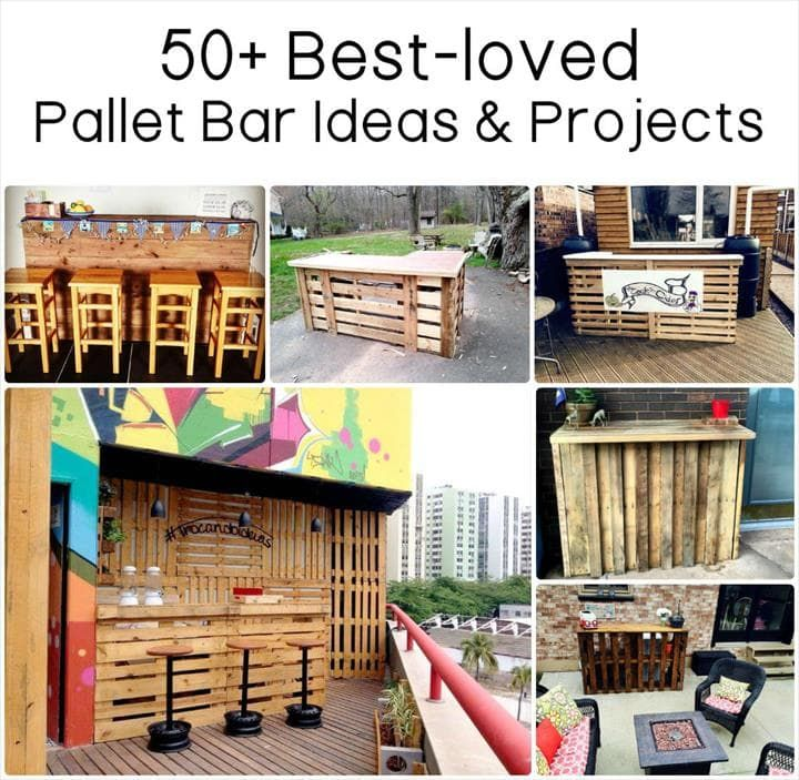 Amazing Pallet Bar with Stools & Lights | 101 Pallet Ideas
