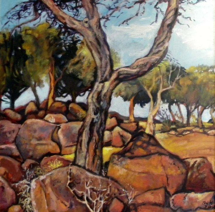 African landscape main features are trees and rocks: Jannie van Heerden- Oil Painting Painter 344 Florida Road, Durban +27 31 312 4364