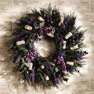 Wine Cork Grapes Wreath