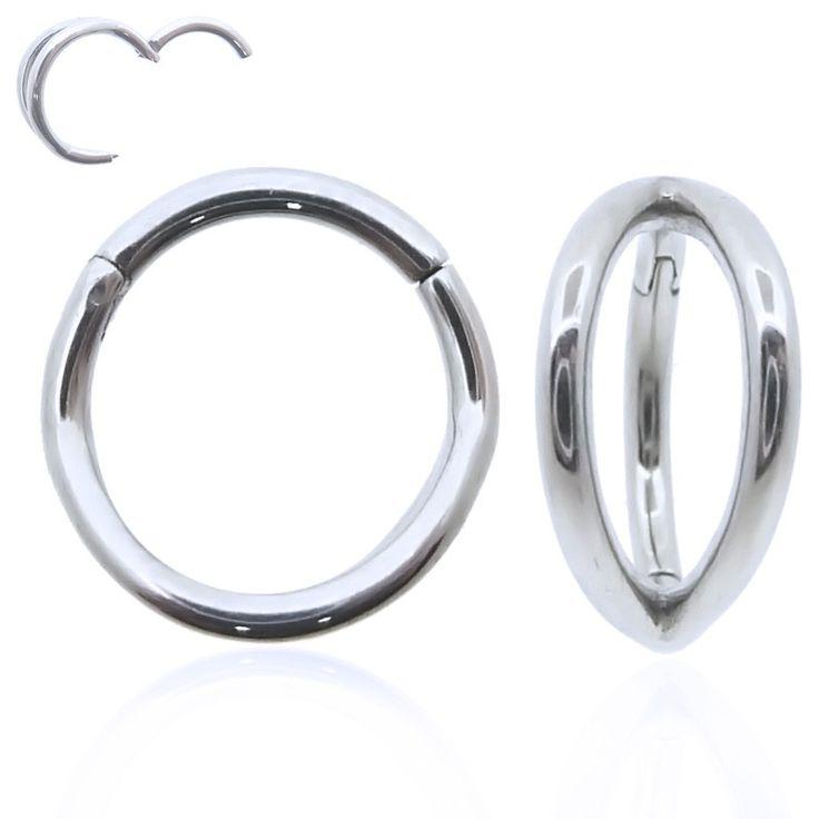 Effet double anneau avec ce piercing en acier chirurgical. Cet anneau s'ouvre et se ferme facilement à la main.