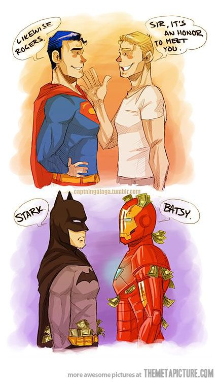 Marvel meeting DC counterparts? Captain America/Superman Iron Man/Batman