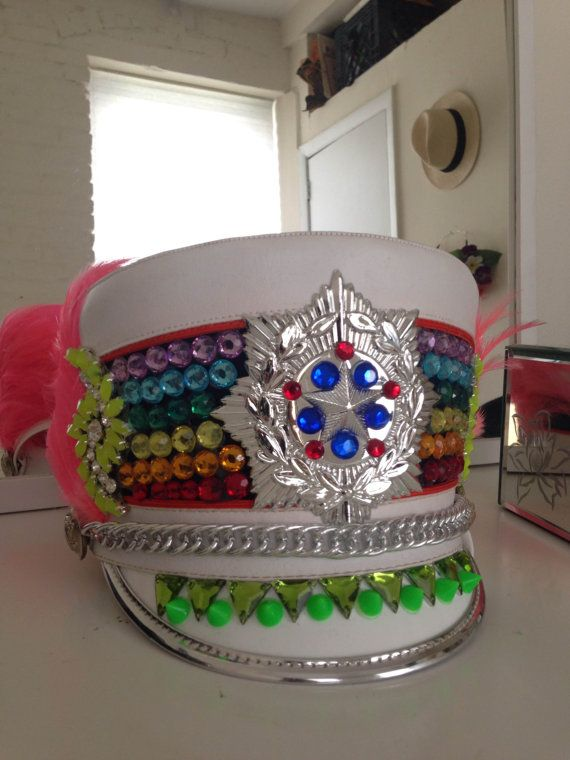 Colorful Jeweled Marching Band Festival Hat by Eflans on Etsy