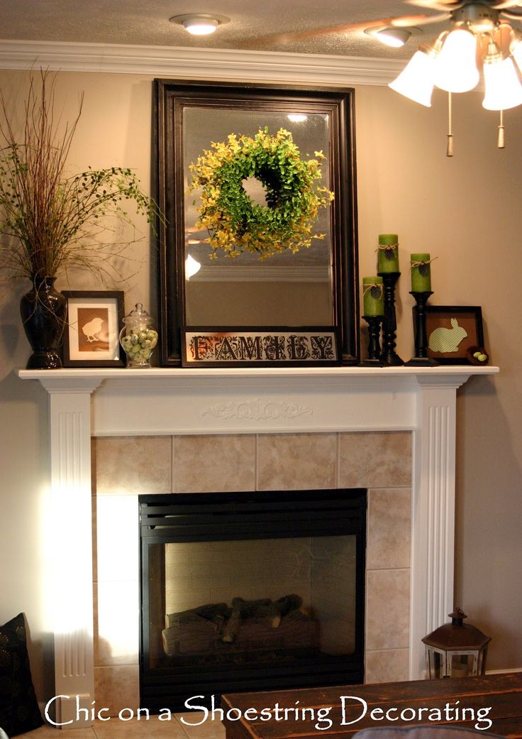 decorations to put next to a mirror on the wall | Chic on a Shoestring  Decorating. Mantle DecoratingMantles DecorFireplace ... - Best 20+ Mantels Decor Ideas On Pinterest Mantle Decorating