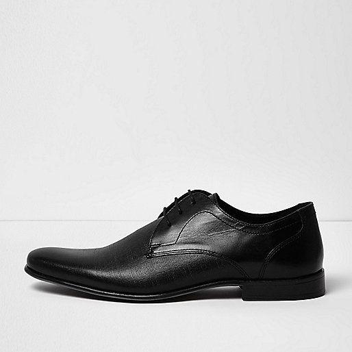 Chaussures habillées en cuir à relief noires - chaussures habillées - Chaussures/bottes - Homme