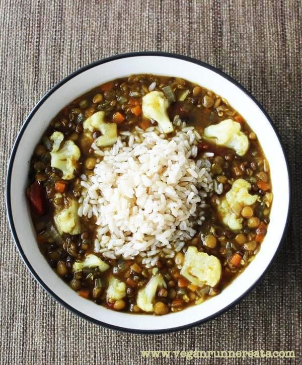 Triple Lentil and Cauliflower Soup with Rice - a perfect meal for cold winter nights! No oil added.