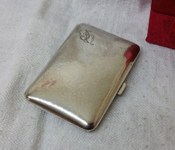 Antikes Etui Zigarettenetui Silber 800 mit Gravur von Schmuckbaron