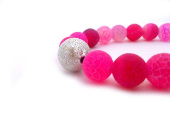 Pink Agate Beaded BraceletFuchsia JewelrySpring by EfZinCreations, $22.00