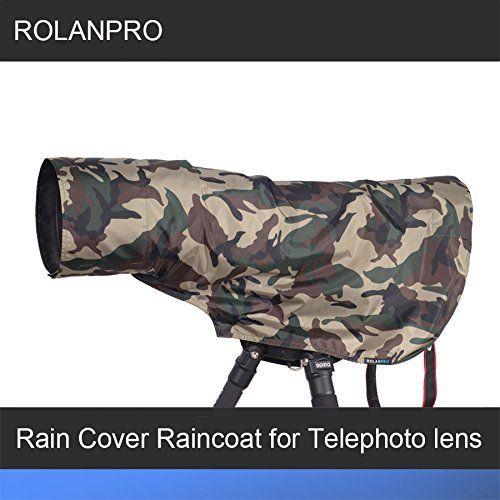 ROLANPRO Rain Cover Raincoat for Telephoto Lens Rain Cover/Lens Raincoat Army Green Camo Guns Clothing XS  A telephoto lens cover / lens green camouflage raincoat [produced] Rolanpro gun cover  XS size for many lens like canon nikon sigma and tamron  Nylon material waterproof