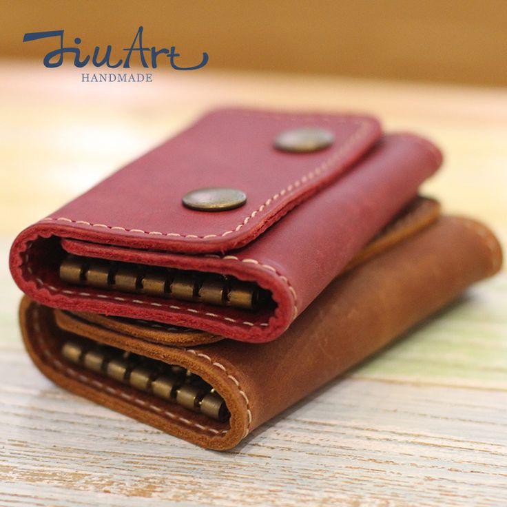 JiuArt Handmade Genuine leather Key wallet Vintage Man Key Bag housekeeper Woman Key Holders High Quality Car Key Case