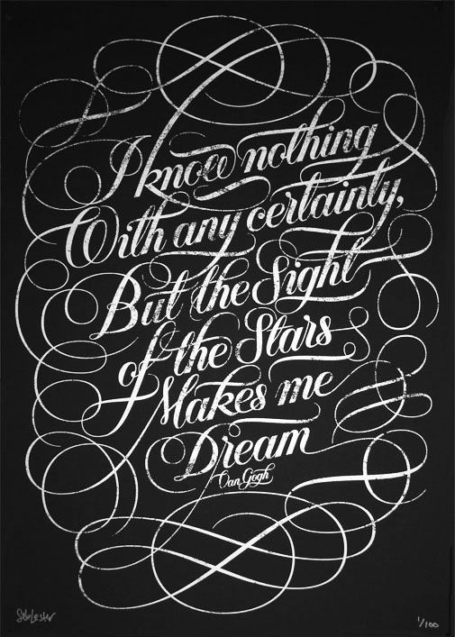 love this print. It's a #VinccentVanGogh #quote. Go to this artist's website (seblester.co.uk). Zoom in to see the detail. The entire design is made of stars. #typography