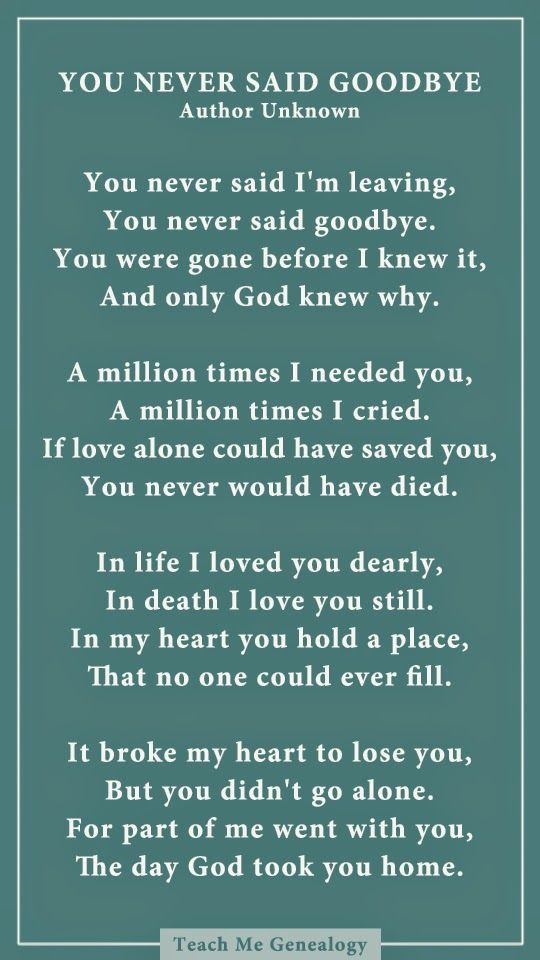 You Never Said Goodbye: A Poem About Losing a Loved One ~ Teach Me Genealogy