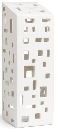 Urbania lyshus i porselen. Designet av Bache & Bendix Becker for Kähler, høyde 22 cm.