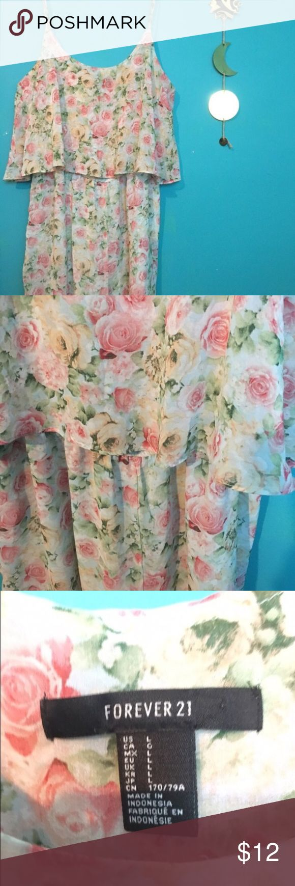 Floral Romper Great condition, only worn a couple of times.  Sheer overlay and mint green layer underneath.  Adjustable straps.  Looks great on.  If you don't think you can pull off a romper, this is definitely a good one to try. #floral #feminine #fesival #flowy #casual #spring #summer #flattering #f21 Forever 21 Dresses