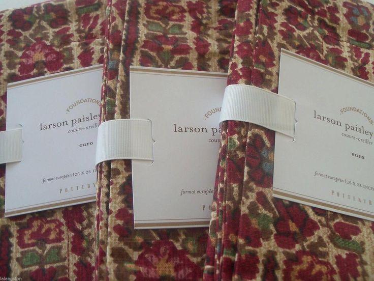 NEW POTTERY BARN 4PC Larson Paisley King Duvet Cover + 3 Euro Shams Bedding NIP #PotteryBarn #Traditional