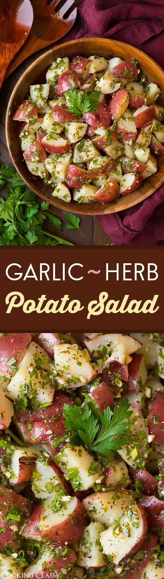 Garlic Herb Potato Salad - this is my FAVORITE potato salad! So flavorful and not so heavy.