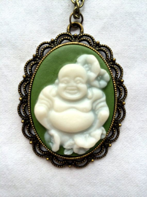 White Buddha cameo with flowers on a turquoise by FairyJaneDesign, $15.00