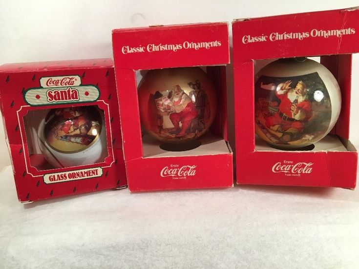 Classic Christmas Ornaments Lot of 3 Coca-Cola Corning Glass Co. Vintage