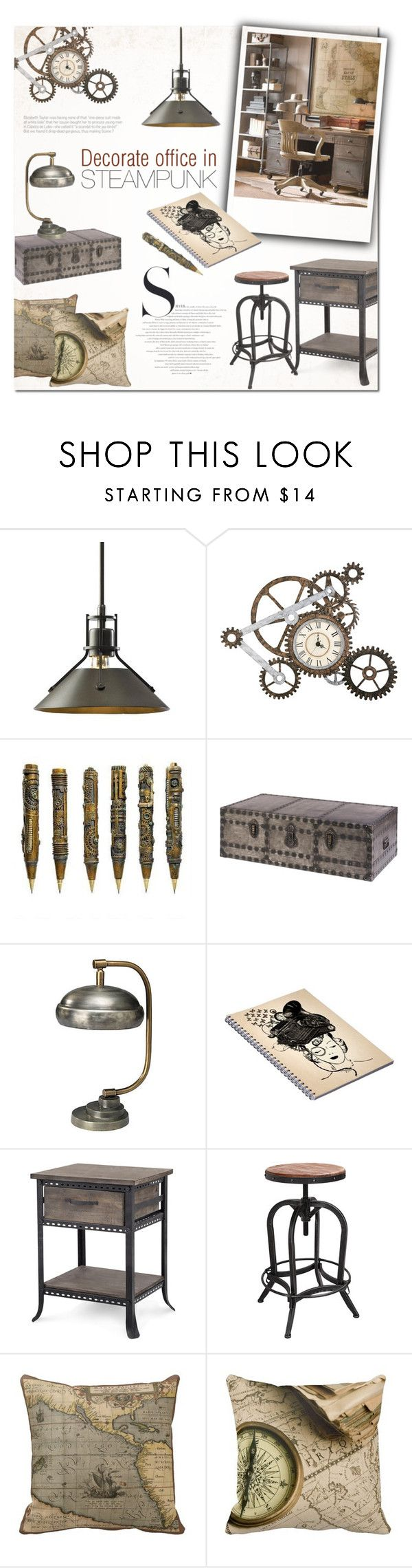 """Steampunk Office Decor"" by alexandrazeres ❤ liked on Polyvore featuring interior, interiors, interior design, home, home decor, interior decorating, Hubbardton Forge, Dot & Bo, Jamie Young and Adeco"