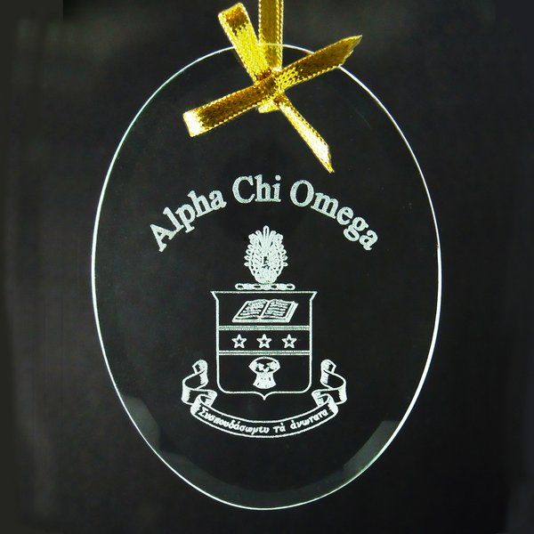 Alpha Chi Omega Name & Crest Crystal Ornament/ Sun Catcher | Good Things From Louisiana