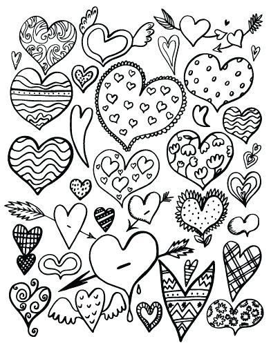 Свадьба, раскраска сердечки много на одном листе