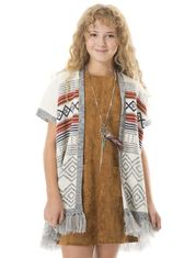 Fringed Poncho for Girls by Rococo
