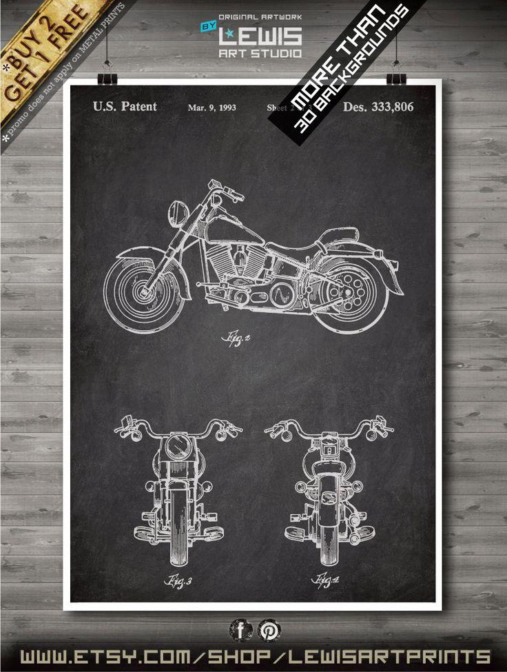Harley Motorcycle poster, Harley Davidson patent, Art print, Paper poster, Harley moto, motocycle Wall Art, Decor no by LewisArtPrints on Etsy