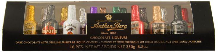 Chocolade likeurflesjes (16 stuks)  Description: In deze verpakking zitten 16 chocoladeflesjes van het bekende merk Anthon Berg. Elk flesje bevat een andere likeur zoals bijvoorbeeld Malibu en Jack Daniels. (250gr)  Price: 10.00  Meer informatie  #Jamin