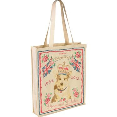 Our re-usable quirky Jubilee bag is a must-have to keep at hand for those spur-of-the-moment purchases!  Printed on both sides.