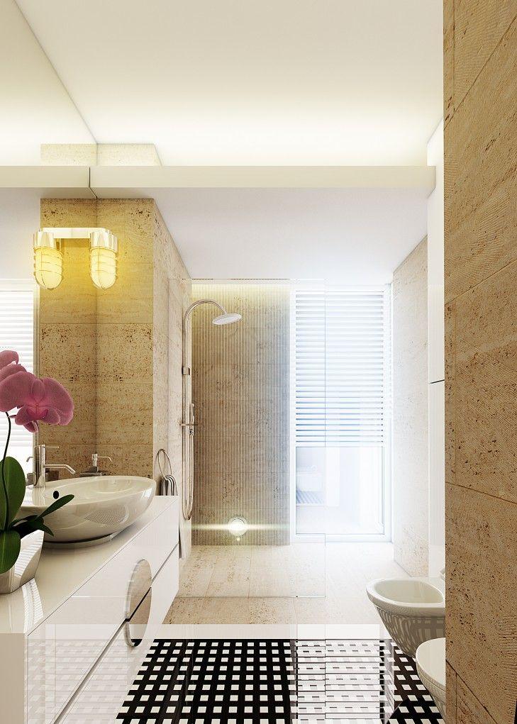 Projekt wnętrza łazienki w subtelnych beżach. Ściany pokryte zostały trawertynem o różnych fakturach. http://www.tissu.com.pl/zdjecia/363