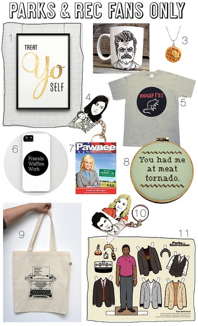 """Compilation of Parks and Rec merch. My """"meat tornado"""" hoop is #8. I greatly covet the waffle necklace."""