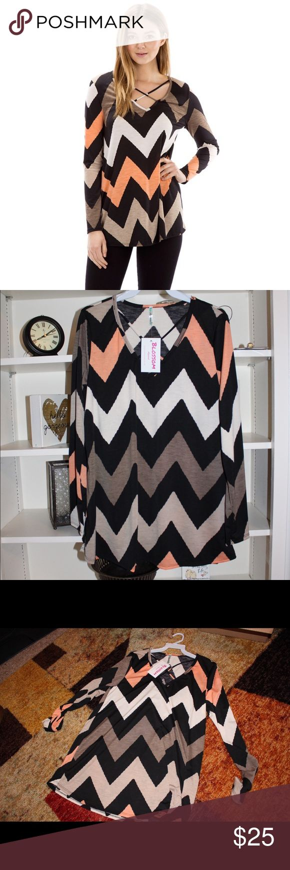 SALE🌟🌟Chevron top with strapping front Brand new with tags! I kept one for myself cause I love it that much!  **sizes available are 1 SMALL and 1 MEDIUM 95% polyester/ 5% spandex will sell as lot if needed The Blossom Apparel Tops Blouses