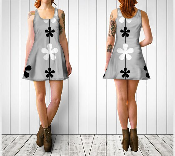"""Flare dress """"Black and White Flowers and Stripes Flare Dress"""" by Cori-Beth's Originals at Art of Where."""