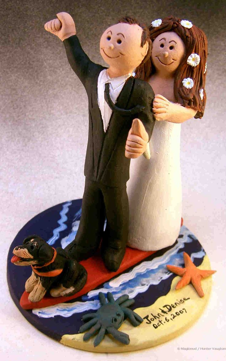 Wedding-Cake-Topper-for-Surfers-with-pets $235 http://www.magicmud.com   1 800 231 9814  magicmud@magicmud.com  http://blog.magicmud.com  https://twitter.com/caketoppers         https://www.facebook.com/PersonalizedWeddingCakeToppers