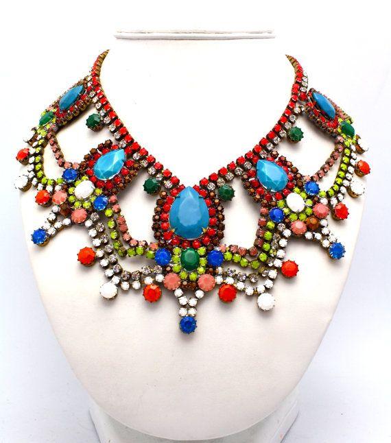 #necklace #statement #jewelry #colorful #royal #fashion #retro #rhinestones #highend #luxury