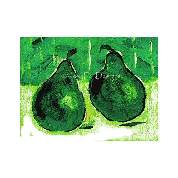 Two Green Pears Art Deco Emerald Green Pears by MoxyFoxDesigns